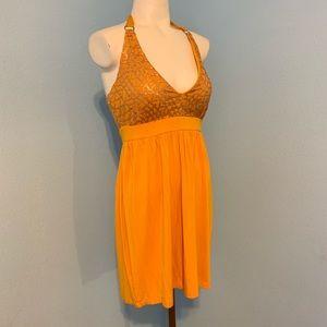 NEW! 2b Bebe yellow silver sequin halter dress XS